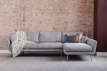 Edloe Finch Right Facing Chaise Down Feather Cushions Grey