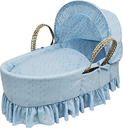 Beautiful Broderie Anglaise Moses Basket and Natural Rocking Stand Blue