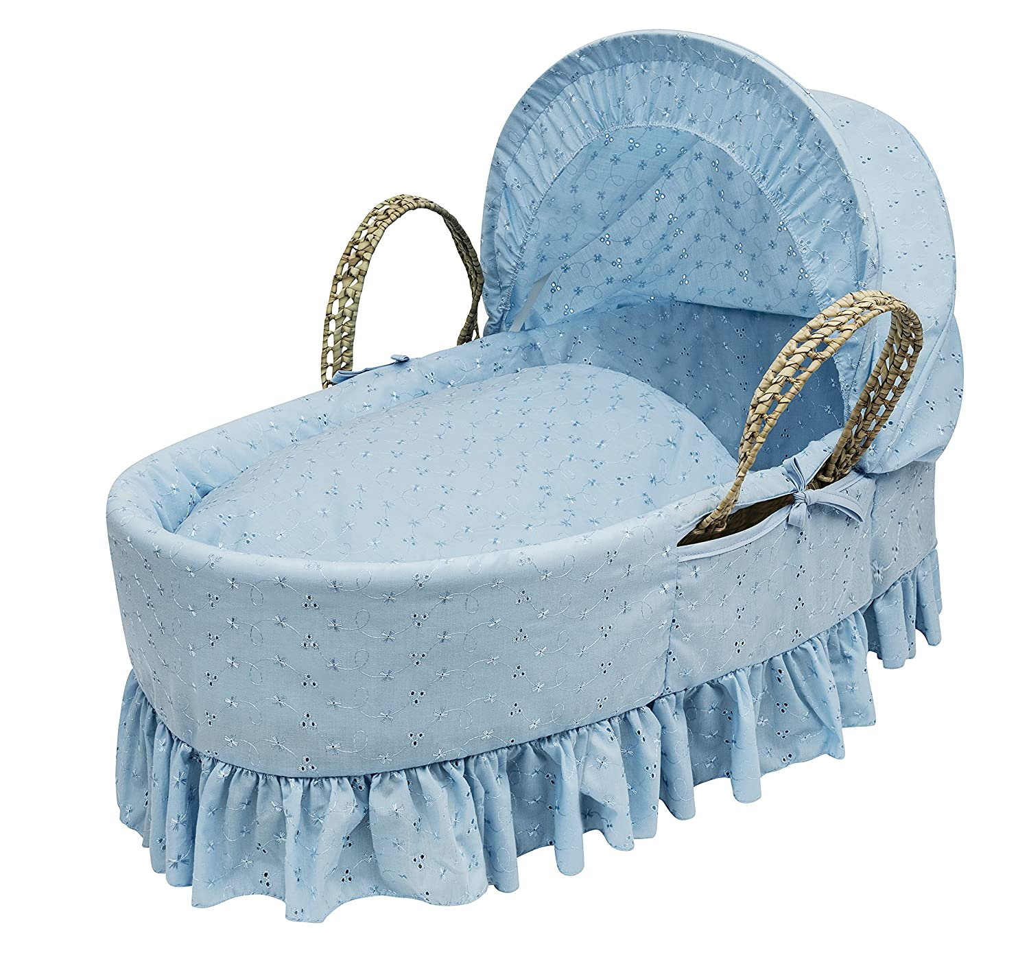 Kinder Valley Broderie Anglaise Moses Basket (Blue) BABLUEMOSES