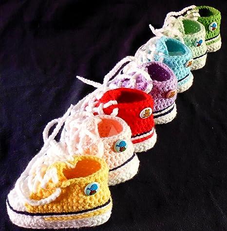 5f0503aae0354 Babyschuhe - Sneakers Chucks Turnschuh gehäkelt gestrickt Gr. 16 17 (Gelb)   Amazon.de  Baby