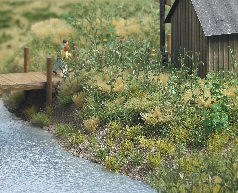 Busch 1300 Base para maquetas con apariencia de vegetaci/ón 4 piezas Importado de Alemania