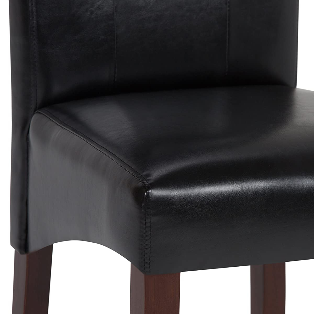 Simpli Home Cosmopolitan Deluxe Tufted Parson Dining Chair, Midnight Black (Set of 2)