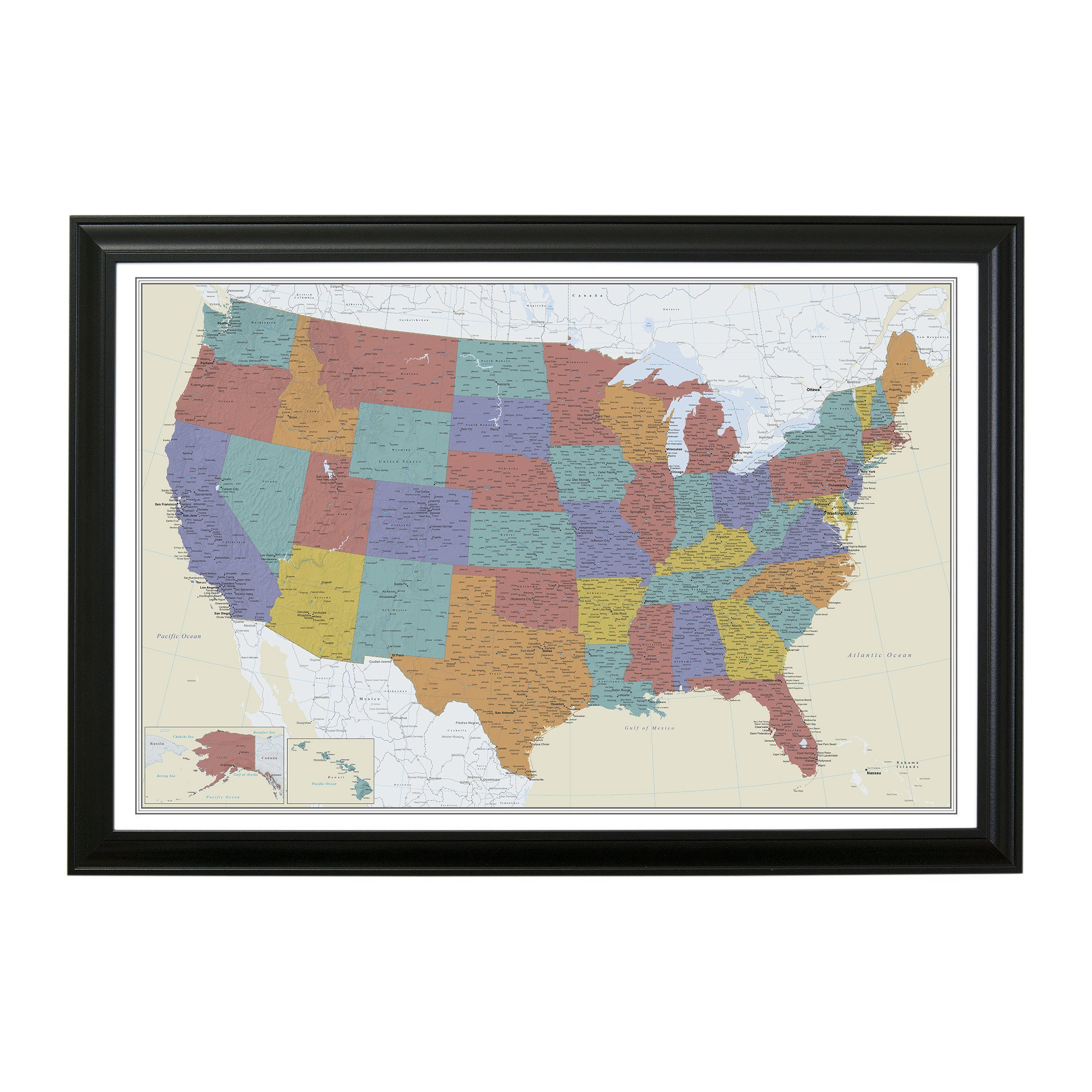Tan Oceans USA Push Pin Travel Map with Black Frame and Pins 24 x 36 by Push Pin Travel Maps (Image #5)