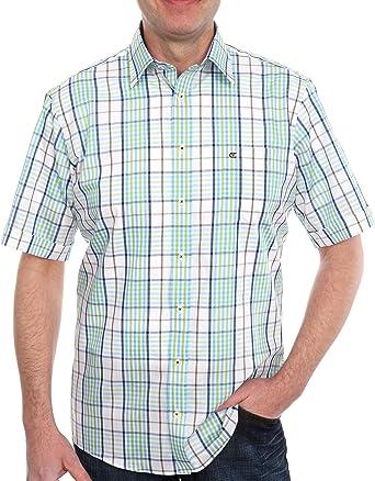Casamoda - Camisa a Cuadros de Manga Corta para Hombre, Talla ...