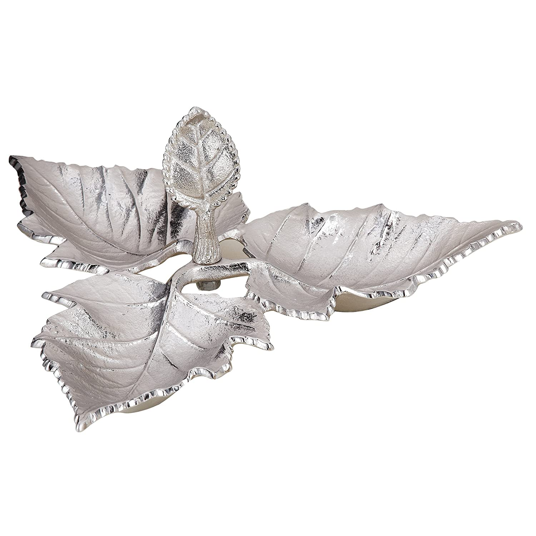 Elegance 72670 Triple Leaf Dish, Silver Leeber
