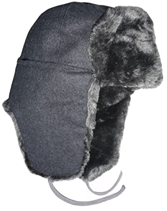 2276976f5f3a0 Faux Fur Ushanka Russian Winter Hat. Gray -54 with Soviet Red Star insignia
