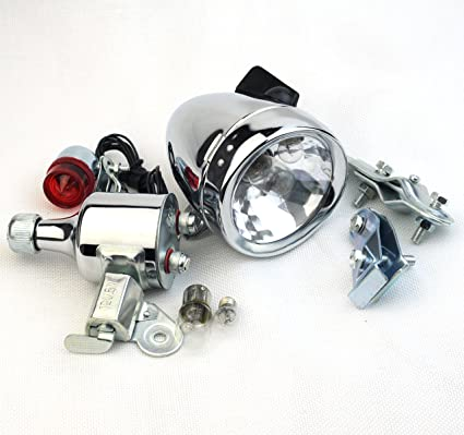 BICYCLE BIKE LAMP DYNAMO LED LIGHT SET CYCLE SAFETY Vintage