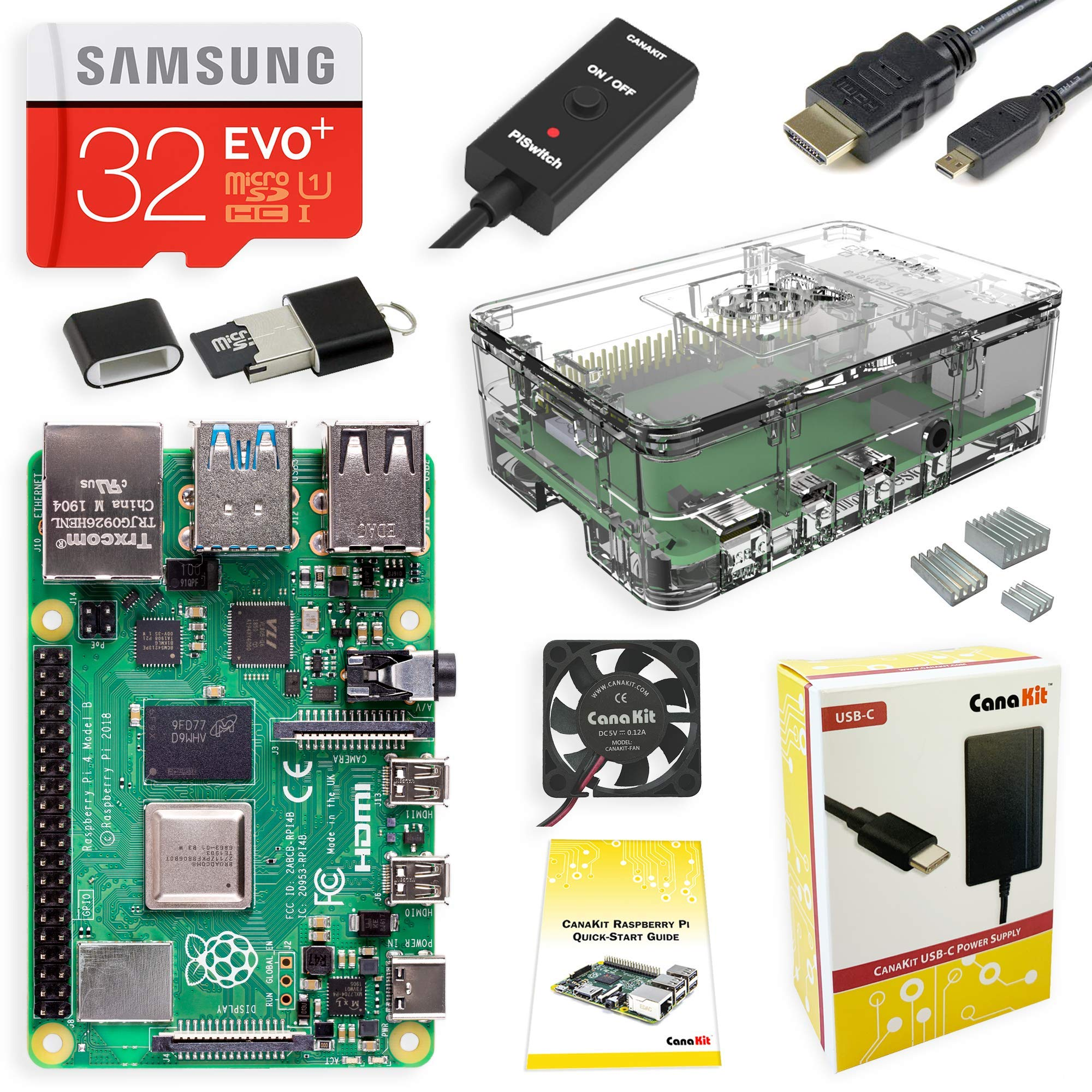 CanaKit Raspberry Pi 4 Starter Kit with Clear Case (4GB RAM) by CanaKit
