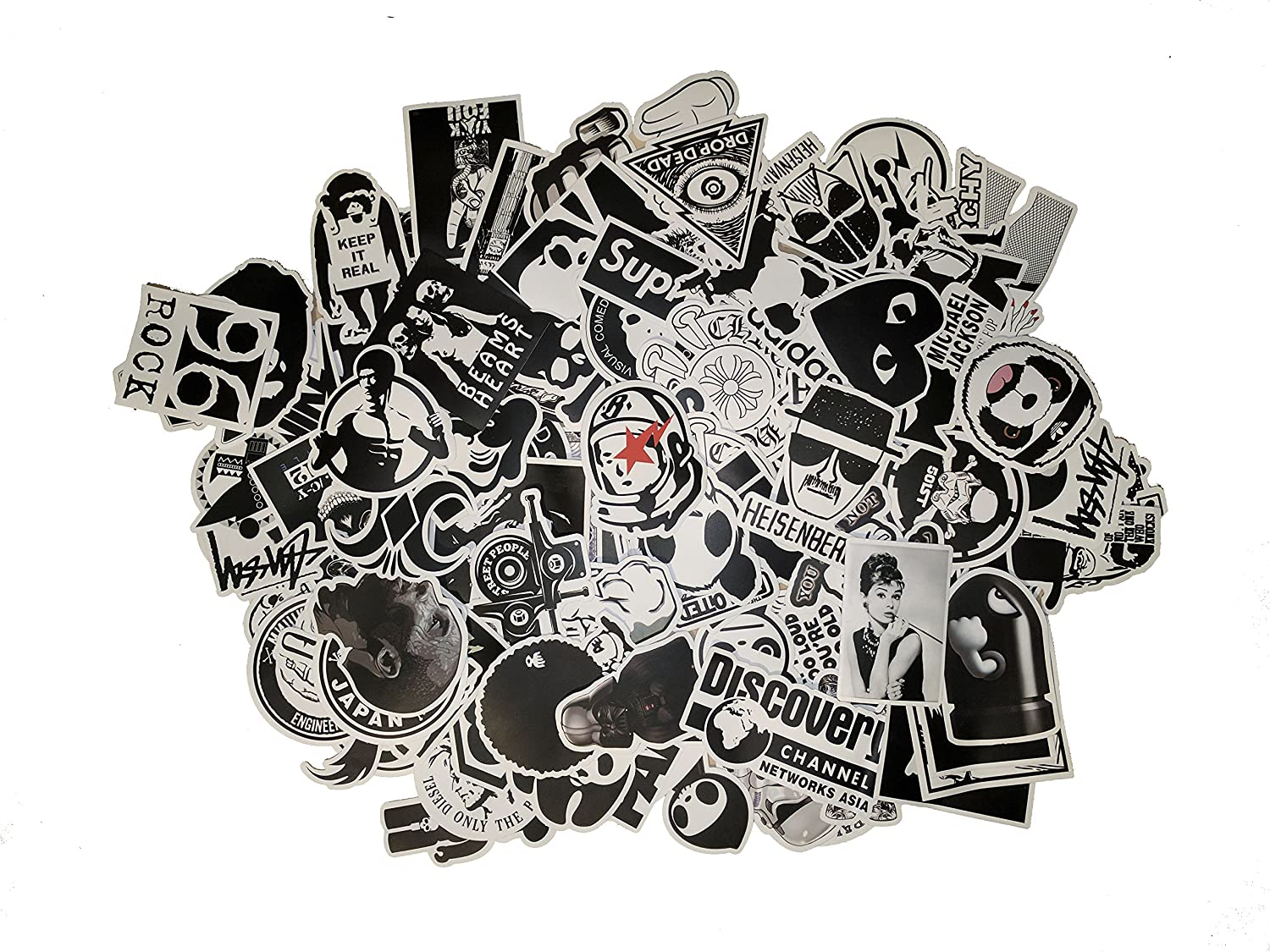 Picavinci Design 100 pcs Sticker Pack Hippies Graffiti Vinyl Decal for car Helmet Wall Luggage Bumper Snowboard hoverboards Phone Laptop Motorcycle Bike Bottles Decal Bomb F