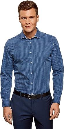 oodji Ultra Hombre Camisa Entallada Estampada: Amazon.es: Ropa y accesorios