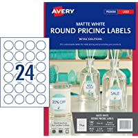 Avery Removable Round Labels for Laser Printers, 40 mm Diameter, 192 Labels (910007 / L7129)