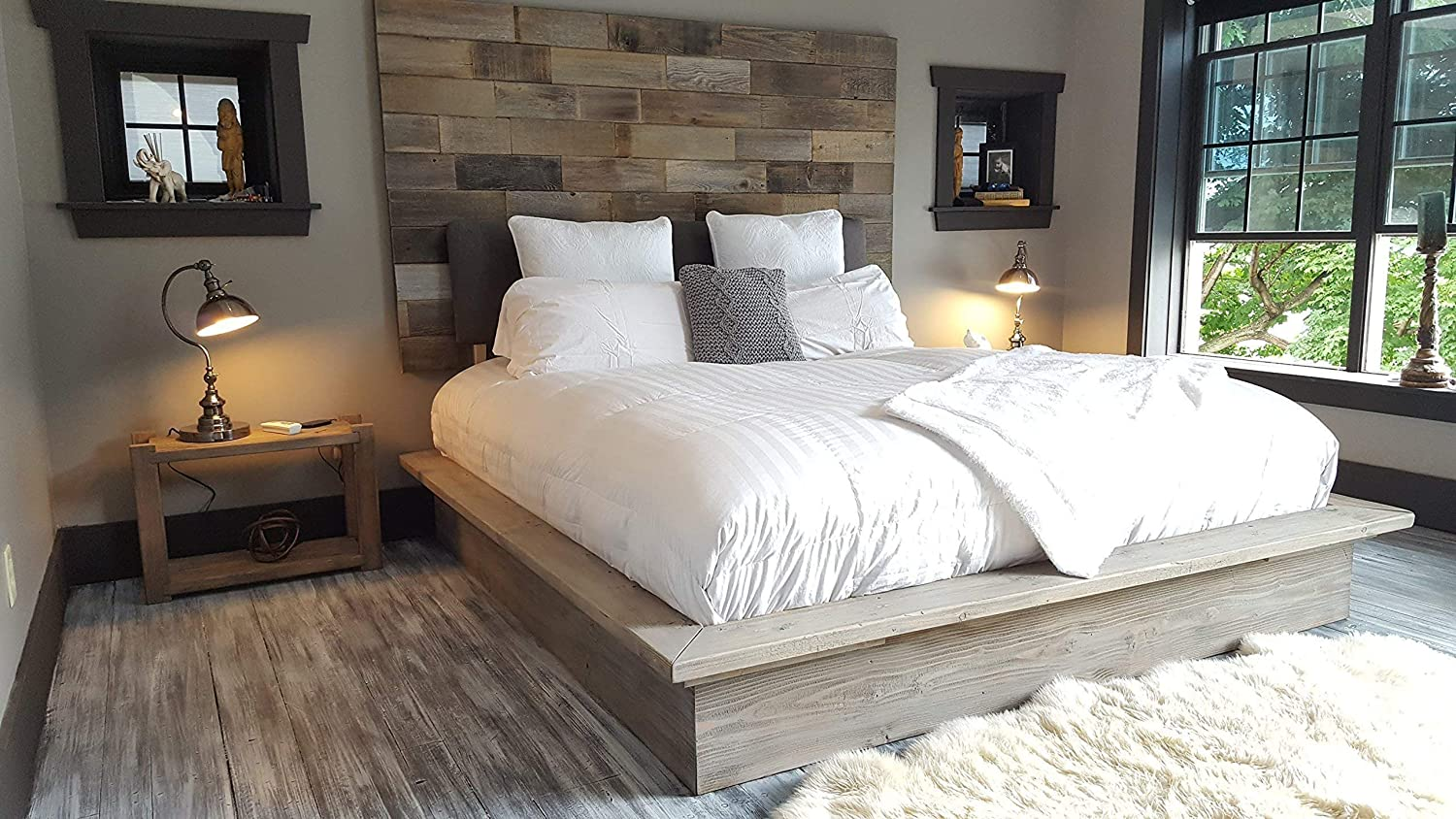 Grey weathered modern industrial reclaimed recycled wood wall mount  headboard art