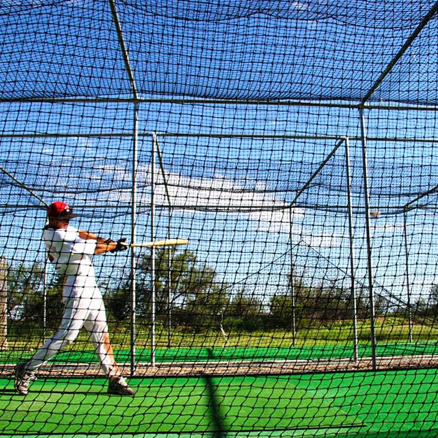 Baseball Batting Cage Nets [12 Sizes] | Professional Fully Enclosed #42 Grade Heavy Duty HDPP Netting | Baseball & Softball Cage Netting | Hitting Cage Net