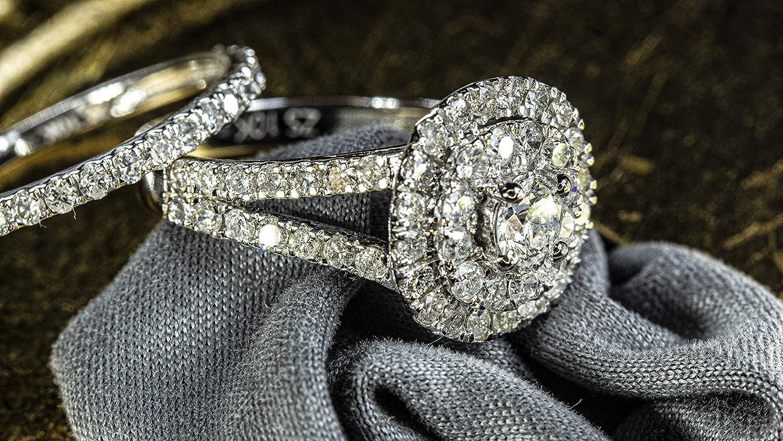 1.5 CTW Cushion Double Halo Round Natural Diamond Engagement Ring & Wedding Band Set in 10K White Gold