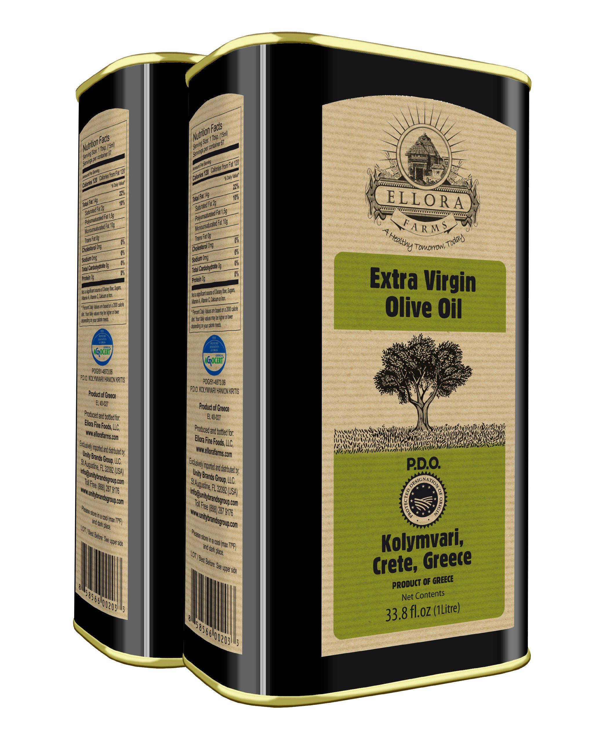 Ellora Farms | Traceable Single Estate Extra Virgin Olive Oil | Certified PDO Harvested in Crete, Greece | First Cold Press | 1Ltr. Tin, 33.8 FL oz. | Pack of 2