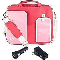 Vangoddy–Pindar Bolsa de hombro para Asus Transformer Pad TF303CL, TF700T, TF103C, FHD 10, TF502T 10.1-Inch Tablet + Car Charger + USB Home Cargador USB, Rosado/Blanco