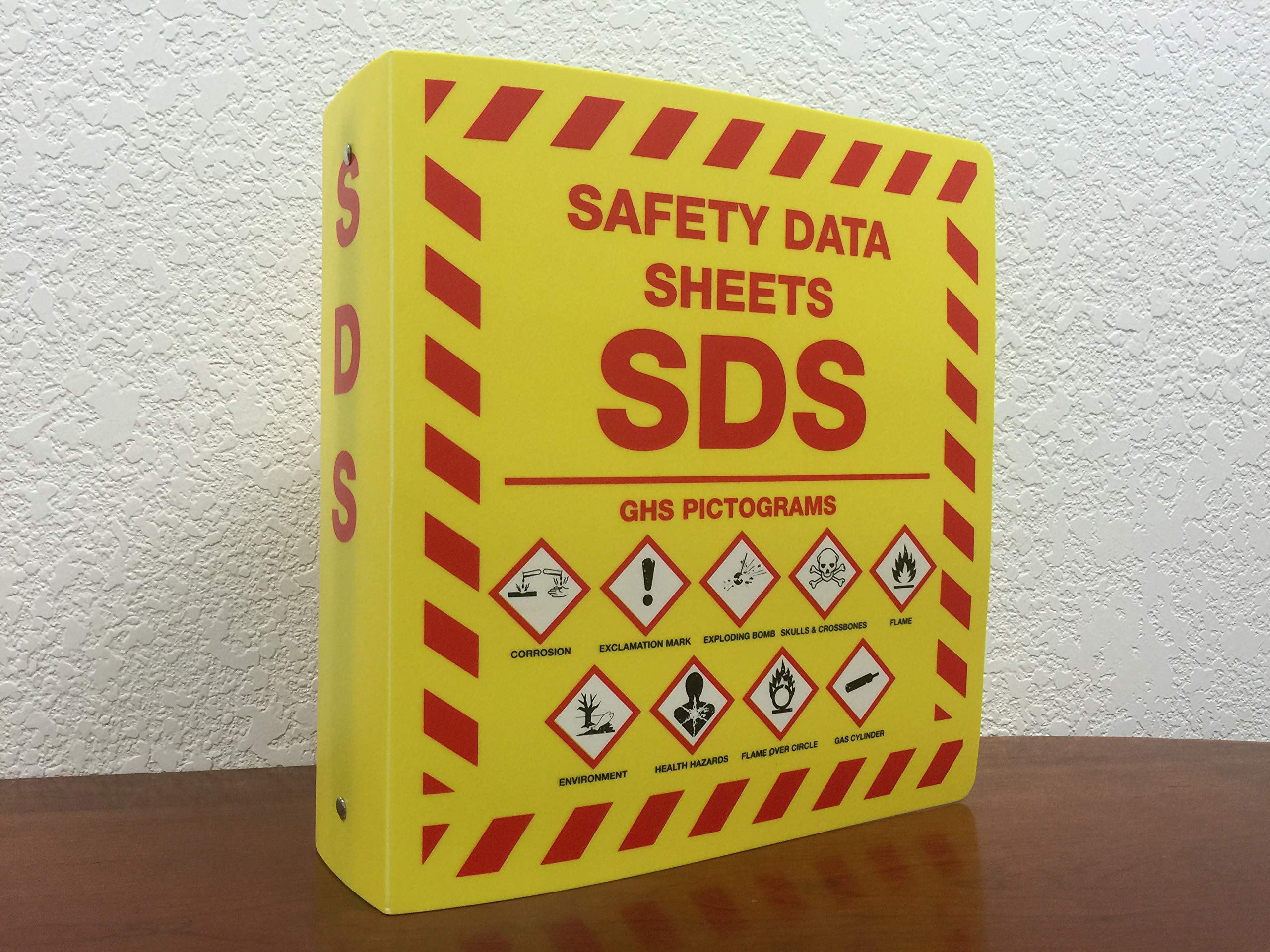 Bilingual Right to Know SDS Center Wire Rack and 3'' Binder with GHS Pictograms