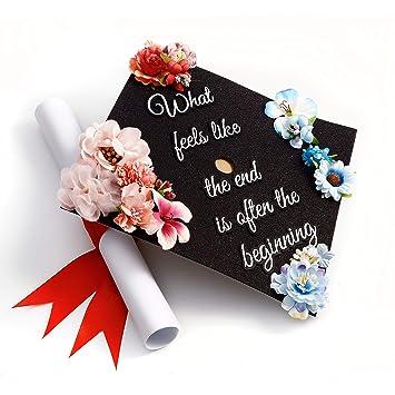 Gradwyse Handmade Graduation Cap Topper Graduation Gifts Graduation Cap Decorations What Feels Like The End Is Often The Beginning Black