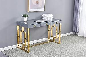 Best Master Furniture Brooke Mid-Century Modern Glossy Home Office Desk, Grey/Gold