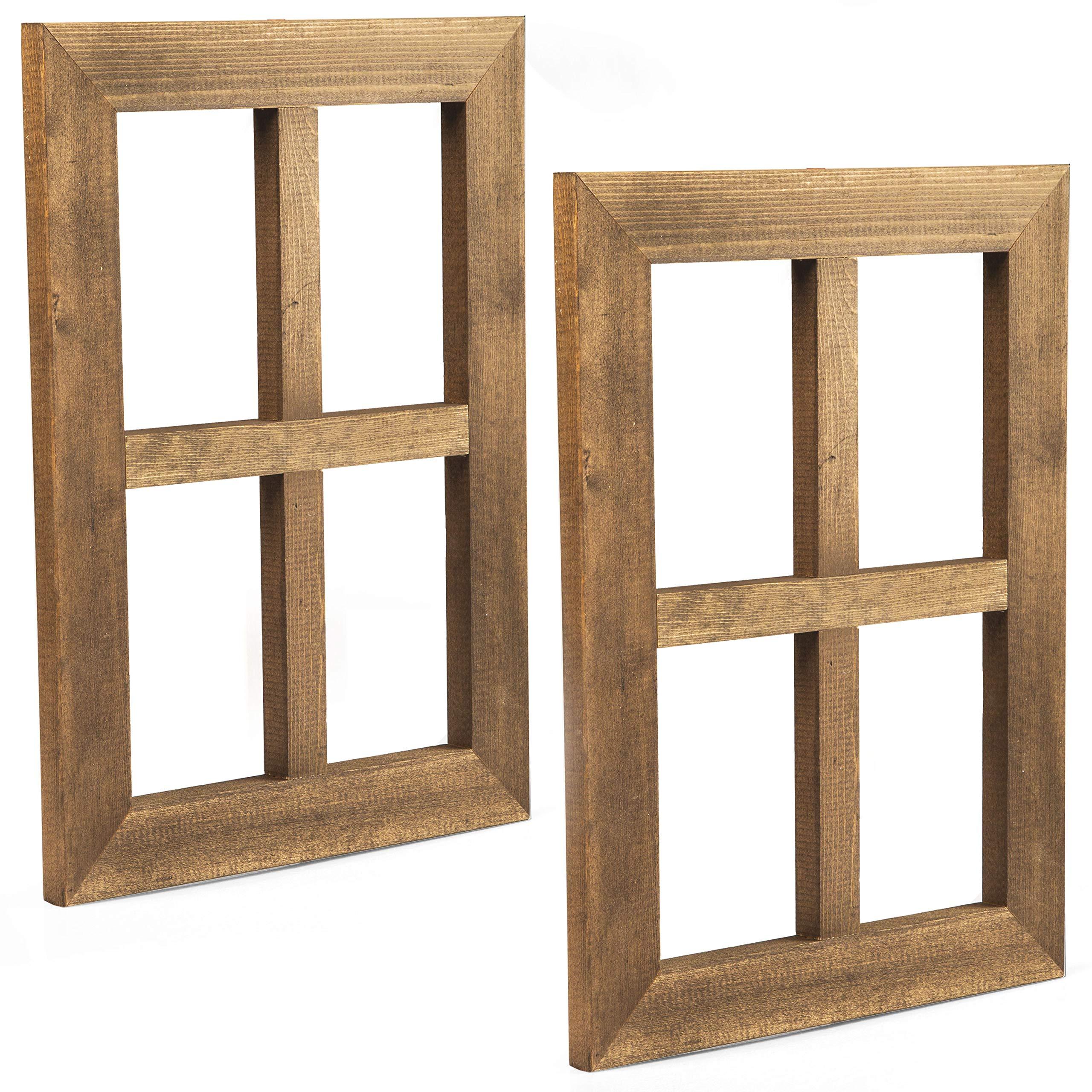 Ilyapa Window Frame Wall Decor 2 Pack - Rustic Wood Window Pane Country Farmhouse Decorations by Ilyapa