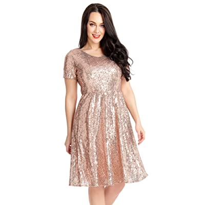 ACKKIA Womens Sequin Cocktail Party Short Sleeves Bridesmaid A Line Skater Dress