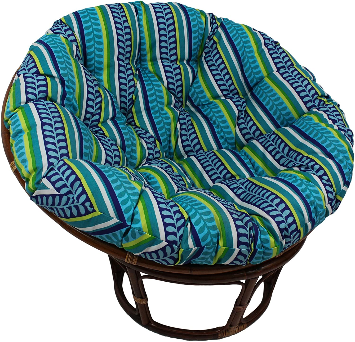 Blazing Needles Patterned Outdoor Spun Polyester Papasan Cushion, 44 , Eastbay Onyx