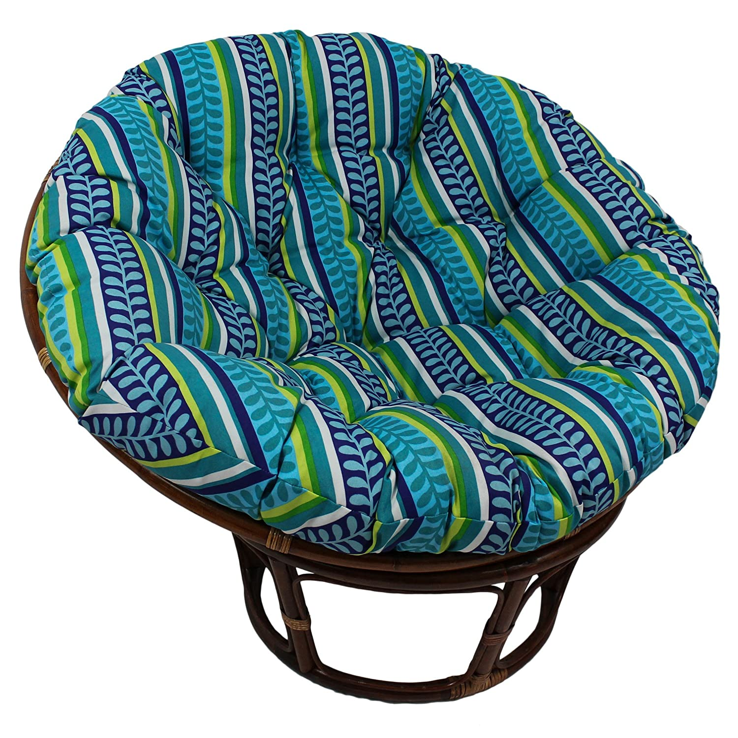 Blazing Needles Patterned Outdoor Spun Polyester Papasan Cushion, 52 , Tucuman Ebony