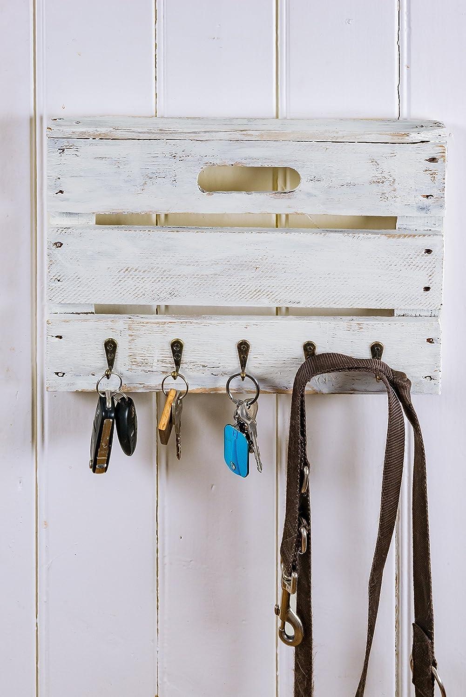 Schlüsselbrett Schlüsselboard Handtuchhalter weiß aus Altholz alter Obstkiste Apfelkiste aus Holz