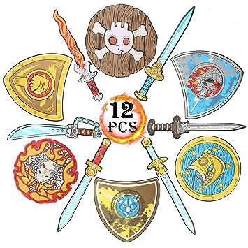Amazon.com: Juego de espadas y escudos de espuma EVA ...