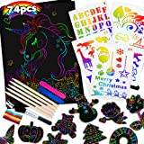 Raimarket Scratch Art for Kids Girls Toys 74 Pcs Arts and Crafts for Kids Rainbow Paper Set   4 5 6 7 8 9 10 Year Old Girls G
