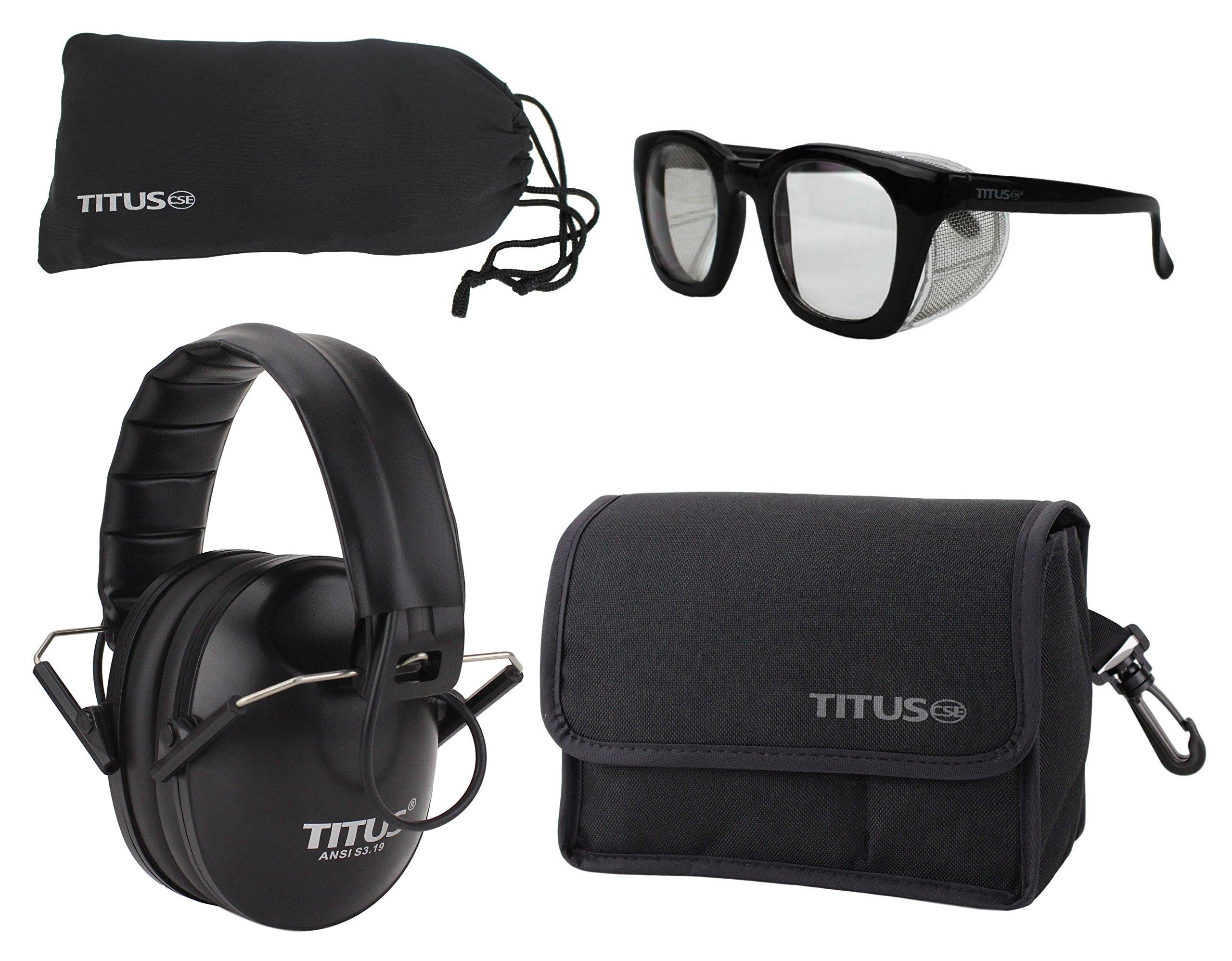 TITUS Top Combos: Safety Earmuffs & Glasses (Black Electronic - Slim, Z87.1 Clear Retro Folding Side Shield)