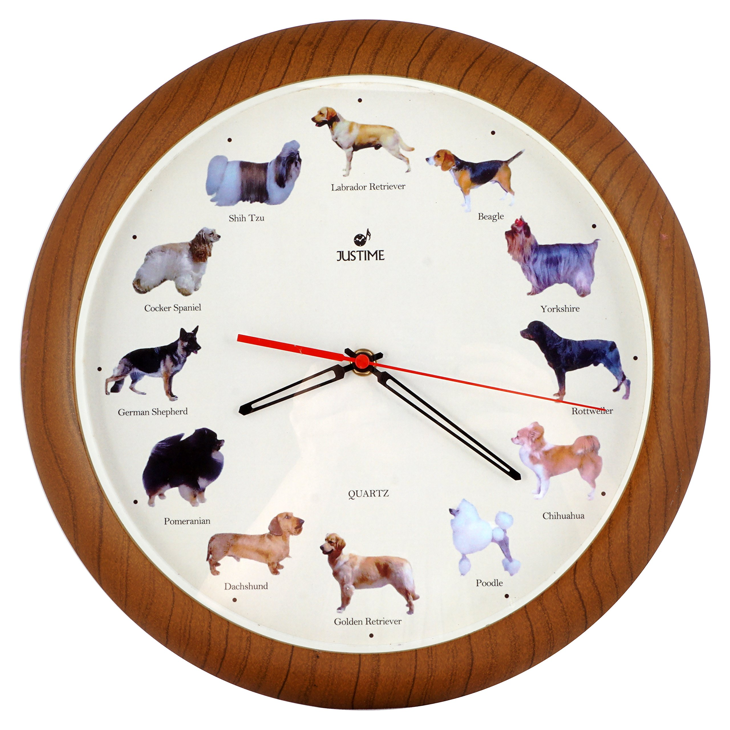 ISHIWA 14-inch Unique Animals Family Quality Wall Clock Silent Non-ticking Movement, Home Decor (W82057 Dogs) by ISHIWA (Image #1)