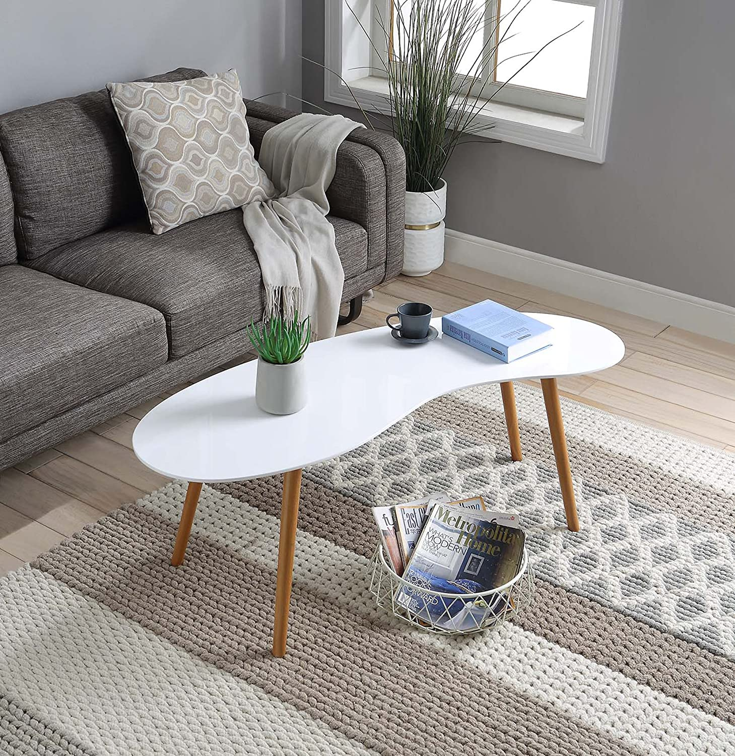 Convenience Concepts Oslo Bean Shaped Coffee Table, White / Bamboo
