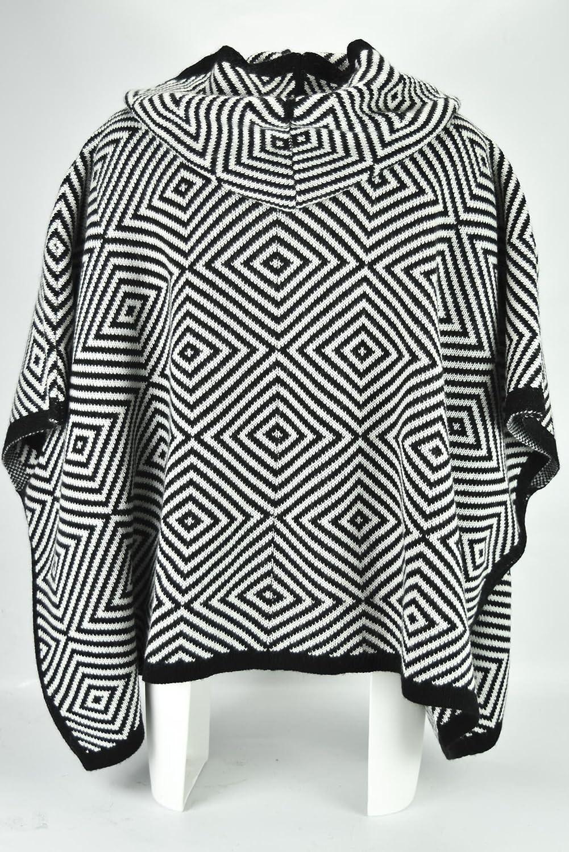 Poncho de Lana de las Mujeres en Blanco y Negro dibujo de Óptica - Negro, Solo: Amazon.es: Ropa y accesorios