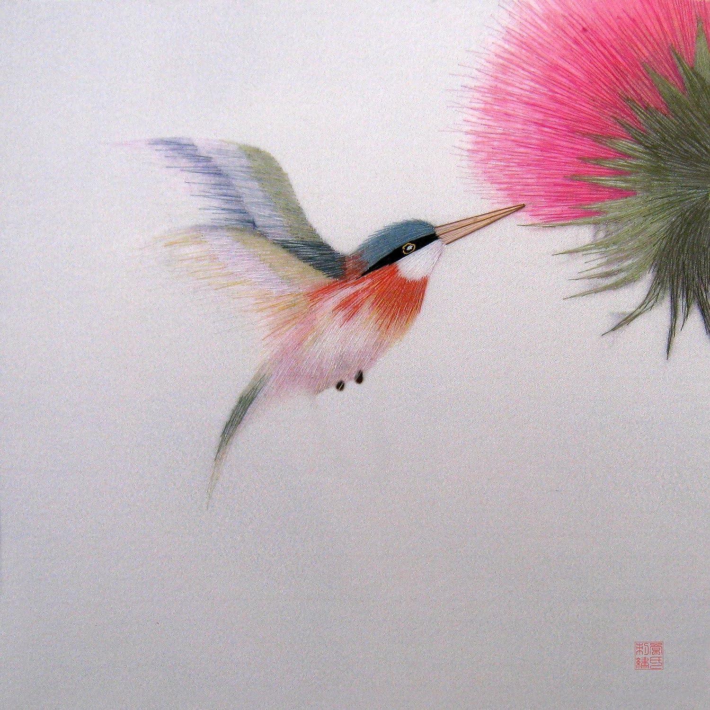 Amazon Com King Silk Art 100 Handmade Embroidery Framed Red Necked