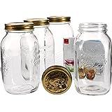 Bormioli Quattro Stagioni - Set da 4 vasetti in vetro per conserva con chiusura a leva, capacità: 1,5 litri, libro di ricette Bormioli incluso