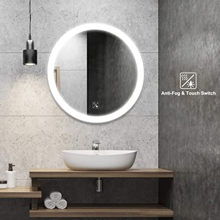 SL4U 24 Inch Round Frameless LED Wall Mirror Bedroom Bathroom Vanity Mirror with On Off Touch Switch, Anti-Fog, CRI 90 , IP44 Waterproof, YSJ-A004