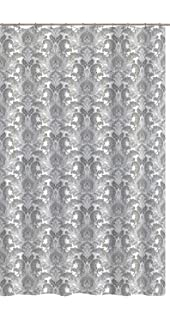 Zoe Gray White Fabric Shower Curtain Floral Damask Design