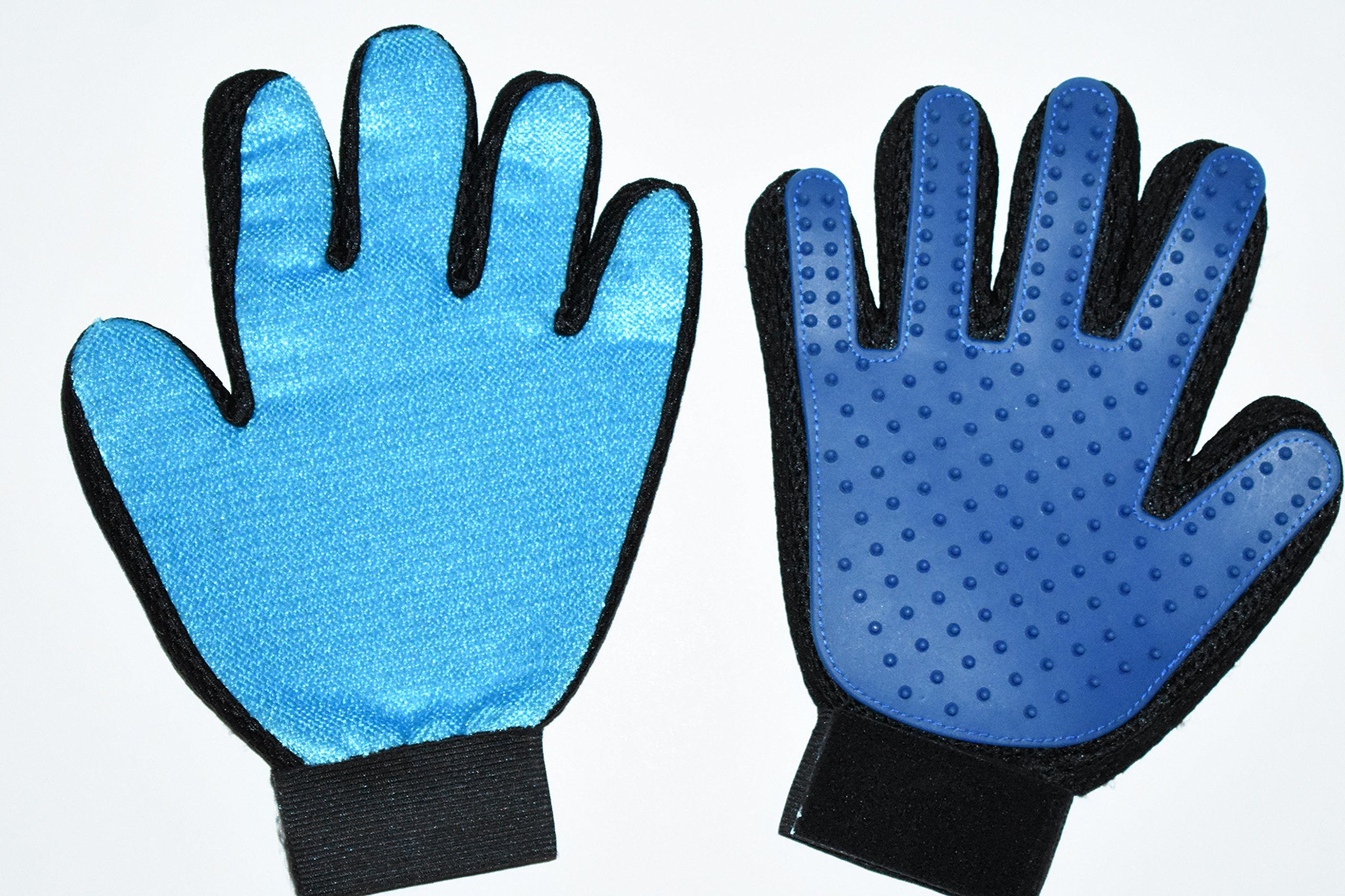 Happy Paws Pet Grooming Glove 2 in 1 Left and Right Hand Glove (1 Pair) Hair Remover and Deshedding Tool - Perfect for Dogs, Cats and Small Pets with Short or Long Fur- (Blue)
