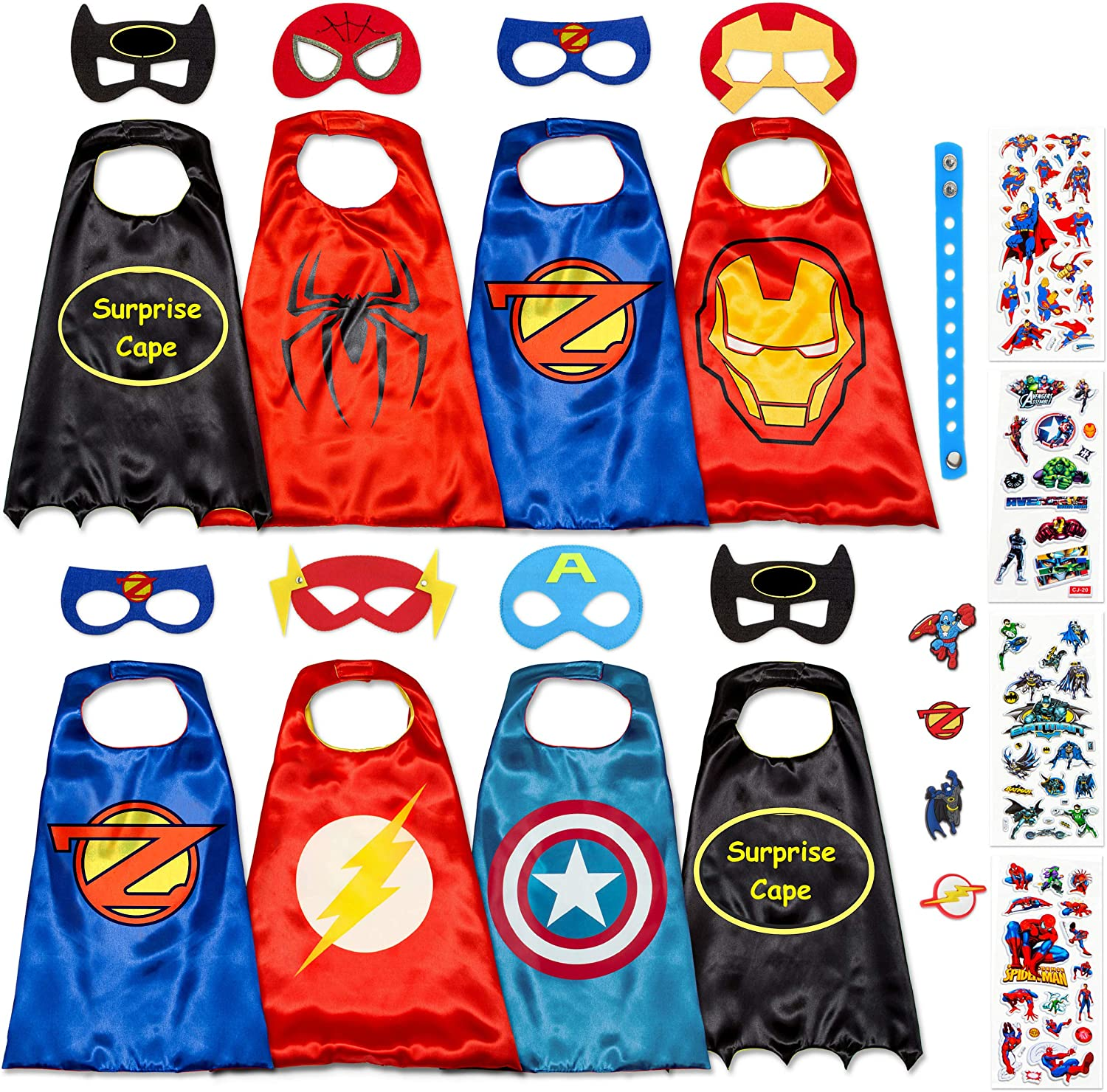 Stickers Take Party Pack Gifts for Kids Justice League 4 Different Superhero Cape and Mask Costumes Come with 295