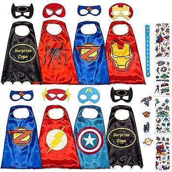 Disfraz De Superhéroes para Niño - Regalos De Cumpleaños para Niña - 8 Capas Y Máscaras - Juguetes para Niños Y Niñas - Logo Brillante de Captain ...