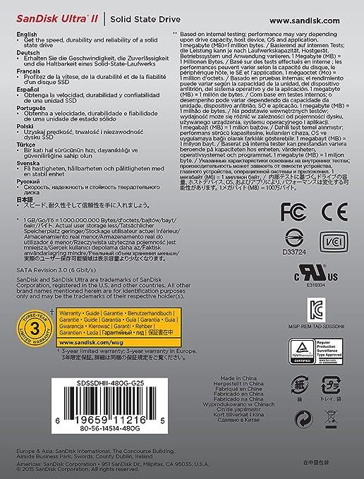 Sandisk Sdssdhii 480g G25 Ultra Ii Ssd Sata Iii Computers Accessories