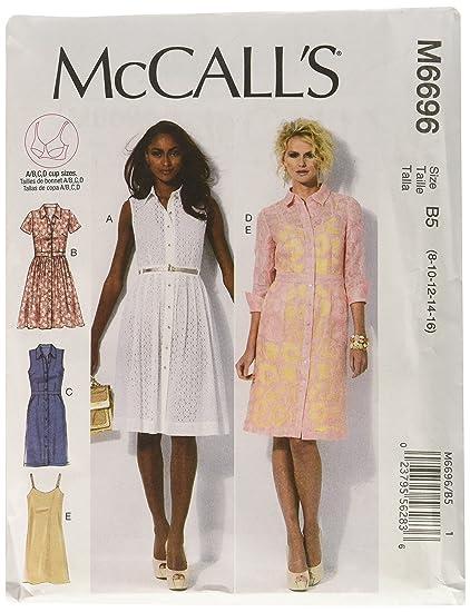 McCalls M6696 - Patrones de costura para confeccionar vestidos de mujer (4 modelos distintos,