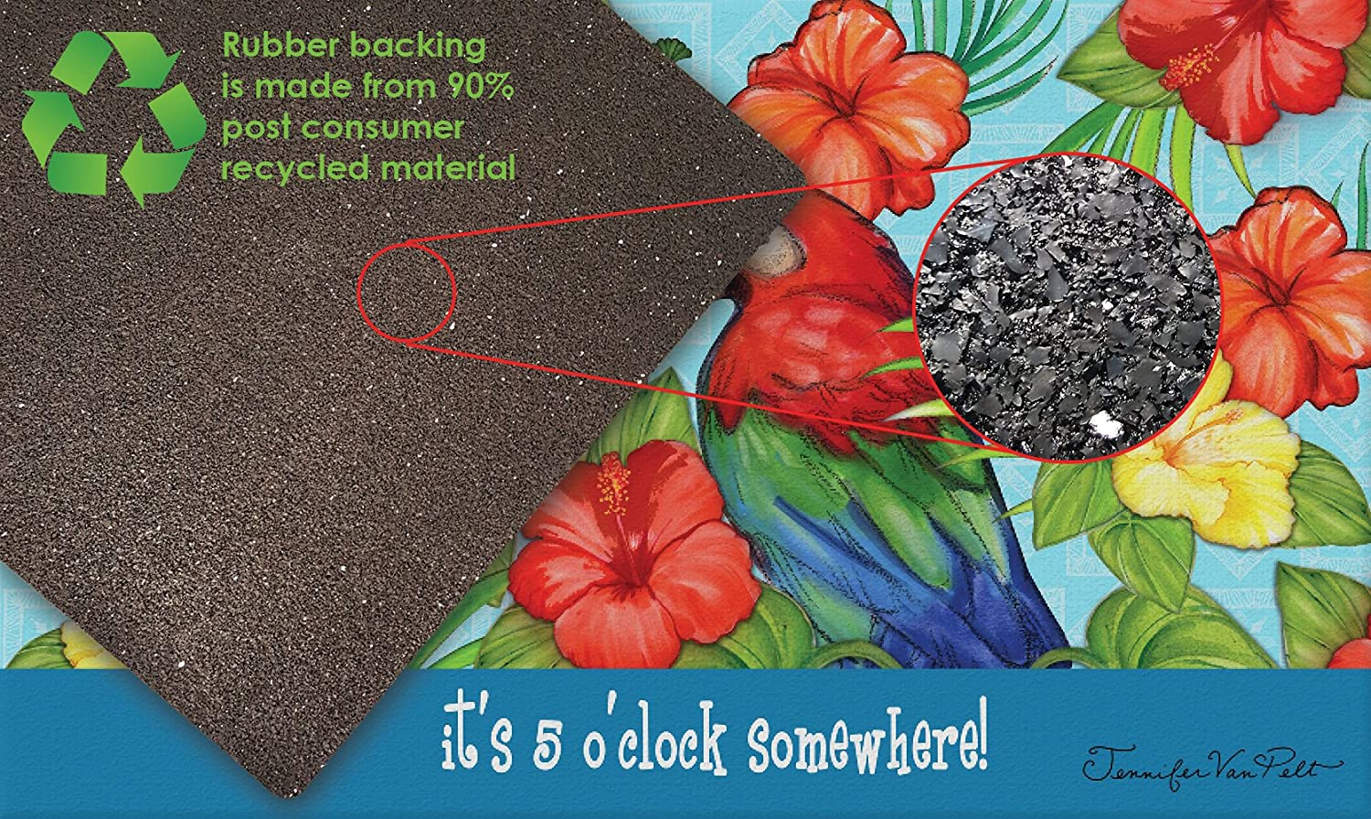 """Toland Home Garden 830257 Its Five 18/"""" x 30/""""  Recycled Mat USA Produced"""