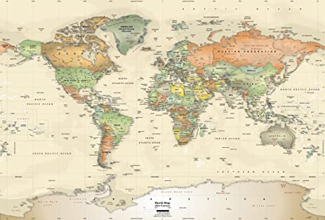 Academia maps world map wall mural antique ocean political map academia maps world map wall mural antique ocean political map premium self gumiabroncs Gallery