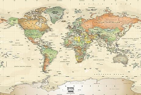 Academia Maps World Map Wall Mural Antique Ocean Political Map - Amazon maps
