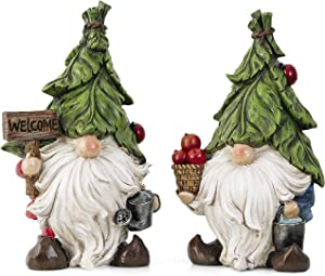 TERESA'S COLLECTIONS Set of 2 Garden Gnome Statues with Watering Can, Adorable Gnomes Garden Decorations, Outdoor Figurine for Lawn Patio Yard Porch Home Table