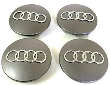Set of Four Alloy Wheels Centre Hub Caps S LINE Red Logo GREY SILVER COVER Badge 60mm fits AUDI Set von vier Alufelgen Center Radkappen S LINE Rot-Logo GRAU CHROM SILBER Abdeckung Nabenabdeckung ABZEICHEN Nabendeckel Nabenkappen 60mm passt AUDI A3 A4 A5 A6