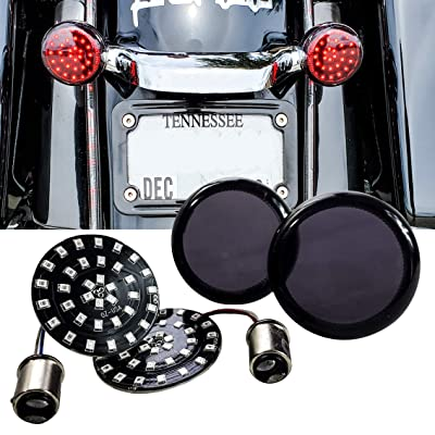 Black Out Red LED Turn Signal Running Light Insert Harley Bullet 1157 Bulb FL FX XL Smoke Lens touring dyna softail sportster street road electra glide: Automotive