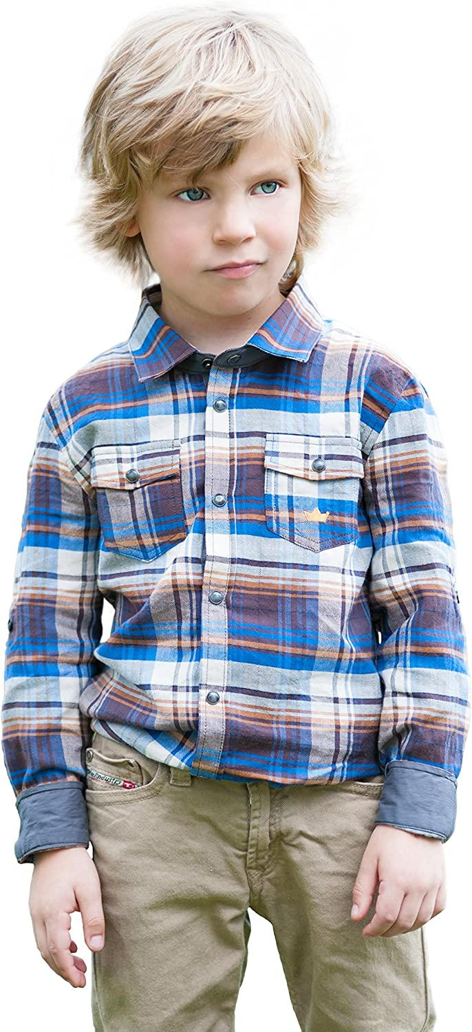Long Sleeve Roll Up Snap Shirt Toddler Boys 100/% Cotton Western Plaid Brown Shirt